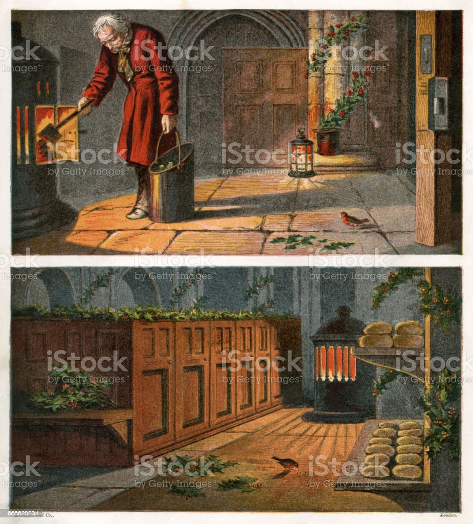 Victorian man and robin in a warm church at Christmas vector art illustration