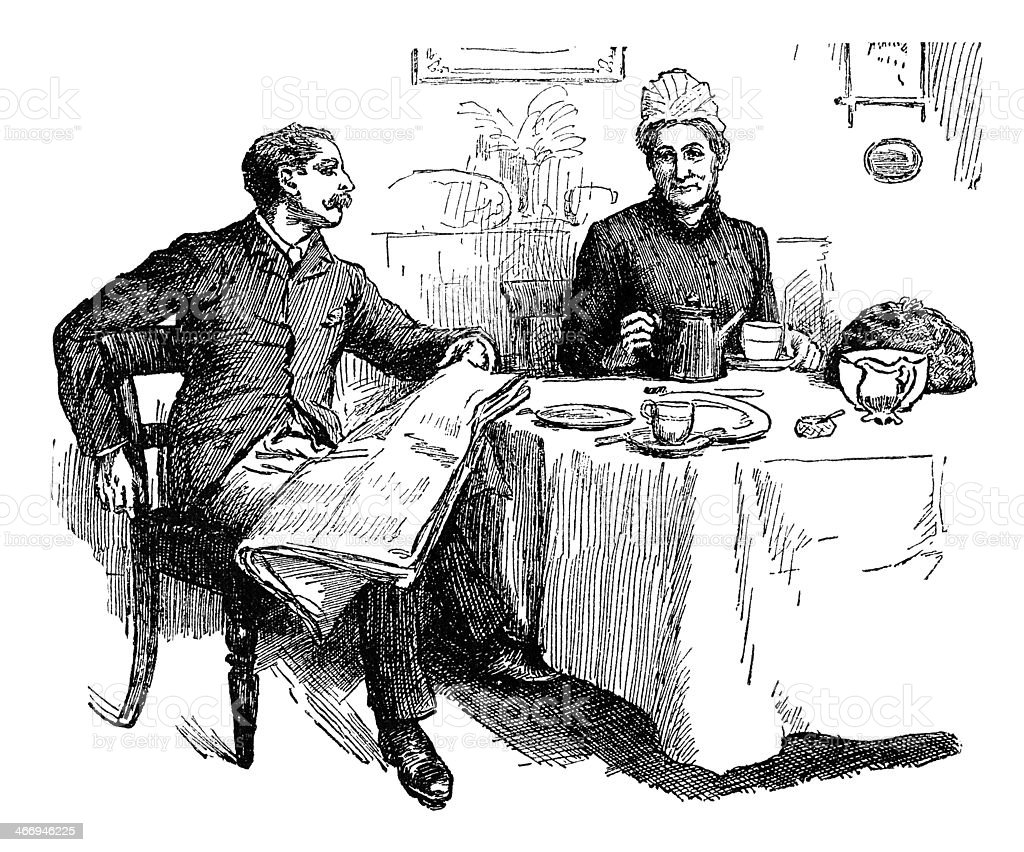 Victorian man and woman at the tea-table vector art illustration