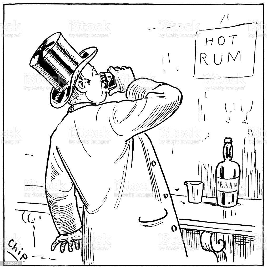 Victorian man drinking spirits vector art illustration