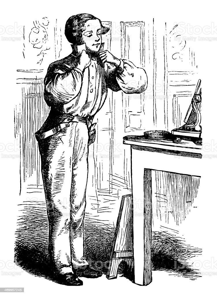 Victorian man getting dressed vector art illustration