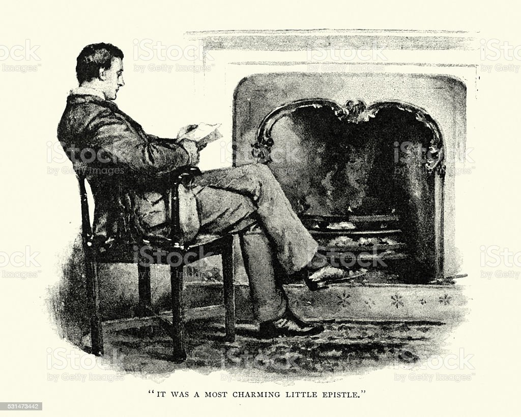 Victorian man reading by the fireside vector art illustration