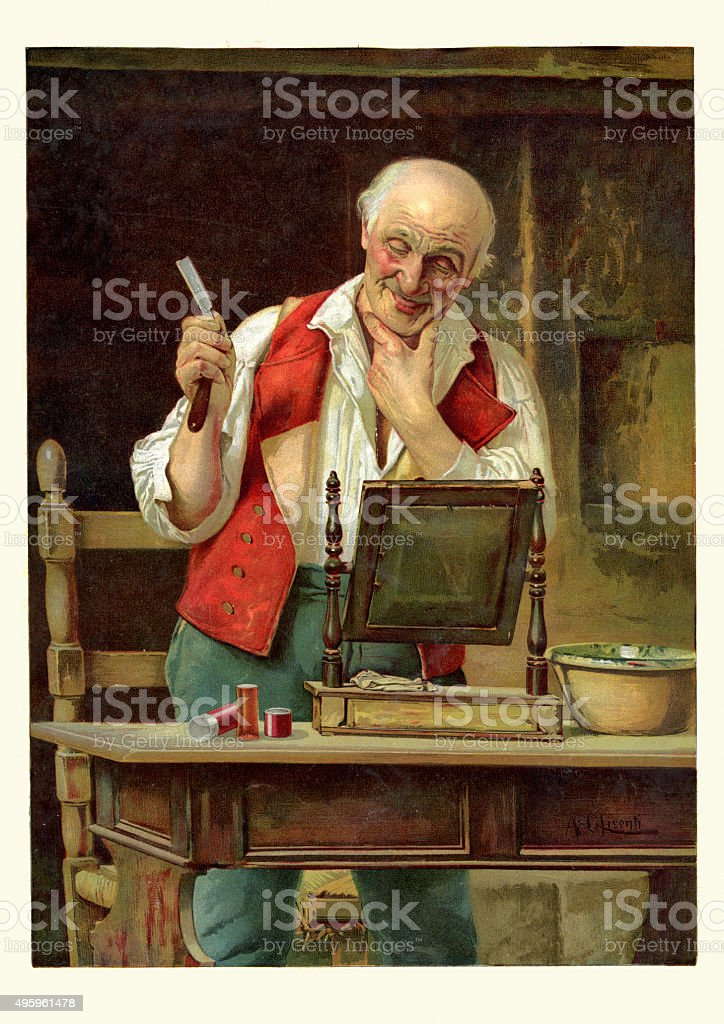 Victorian man shaving with a cut throat razor 1893 vector art illustration