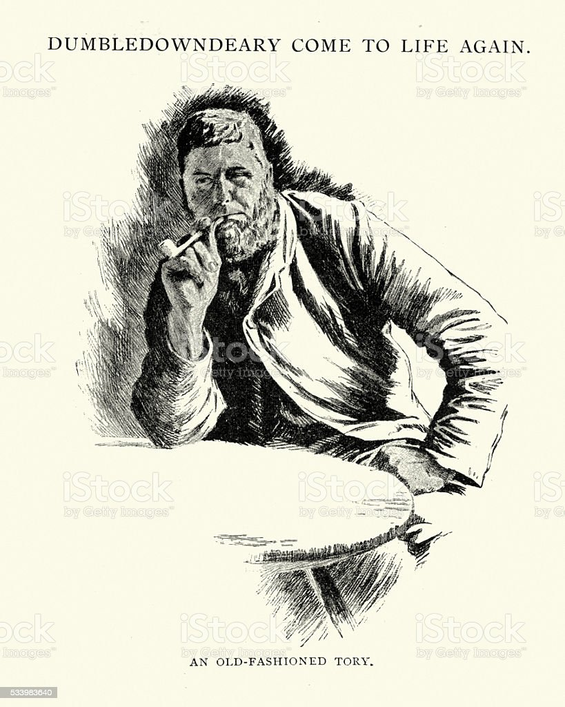 Victorian man smoking a clay pipe vector art illustration