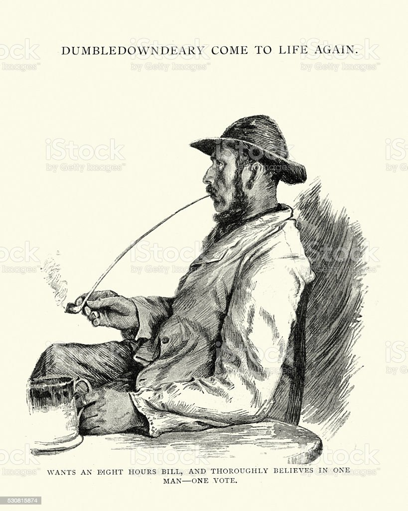 Victorian man smoking a long clay pipe vector art illustration