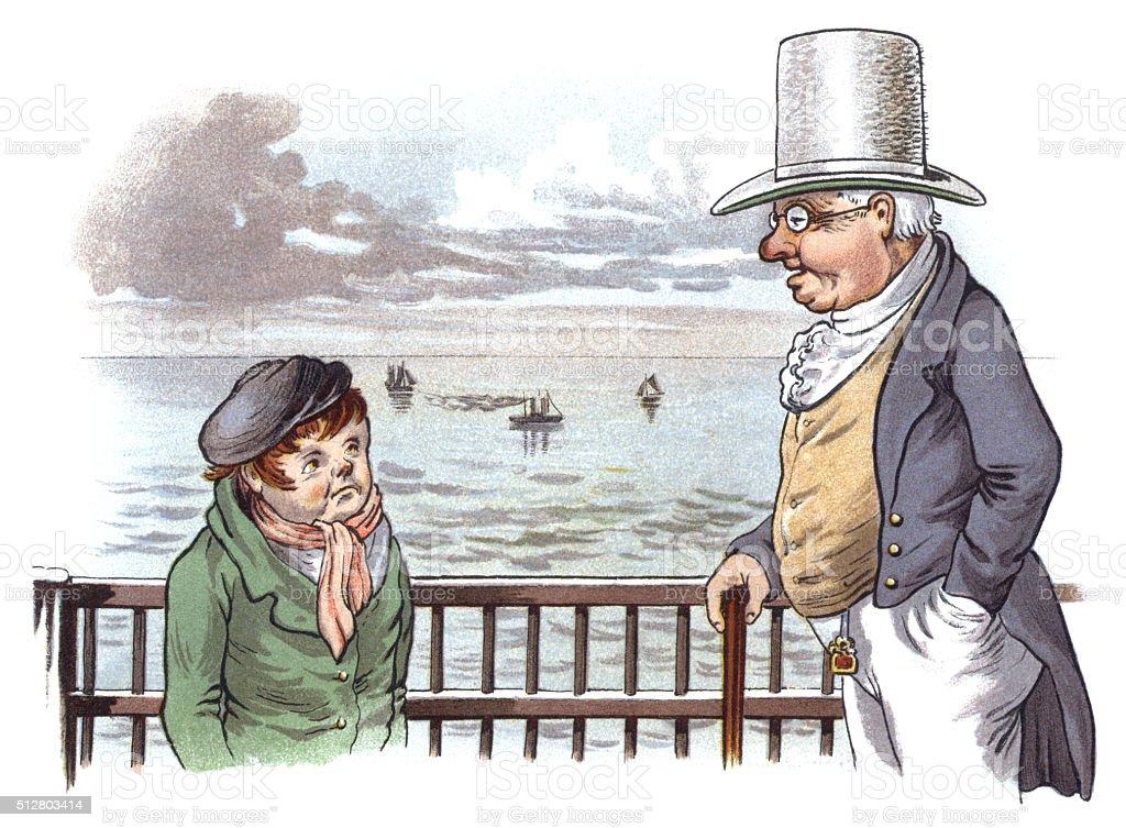Victorian man talking to a small boy vector art illustration
