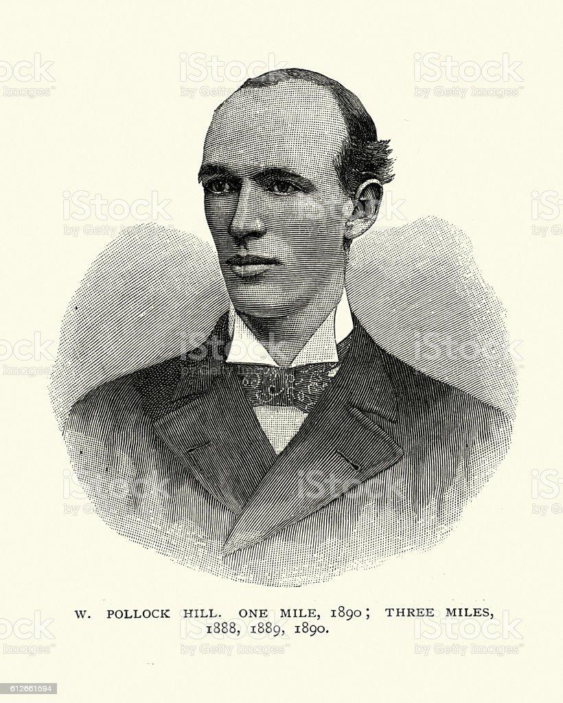 Victorian man, W Pollock Hill, Runner vector art illustration