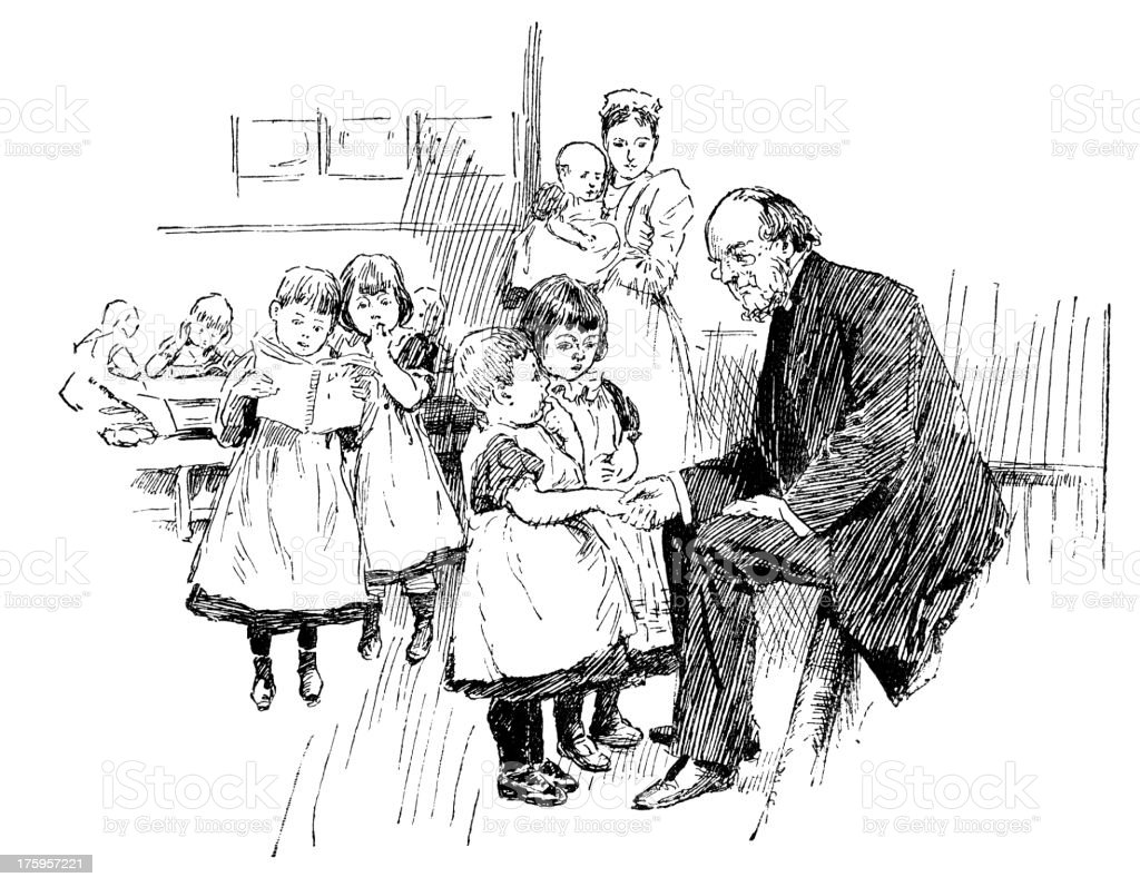 Victorian man with a nurse and children vector art illustration