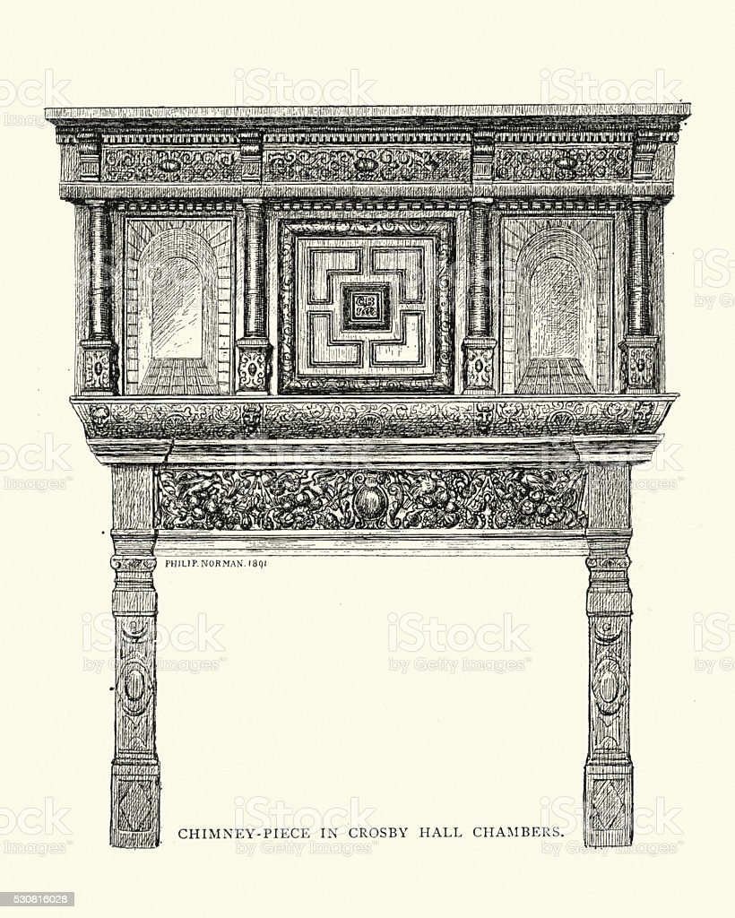 Victorian mantelpiece vector art illustration