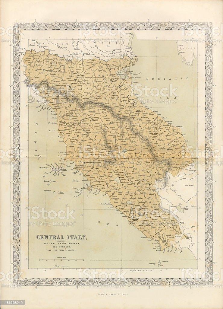 Victorian Map of Central Italy, Circa 1865 vector art illustration