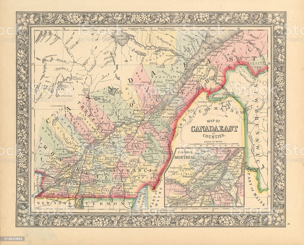 Victorian Map of Eastern Canada Circa 1850 vector art illustration