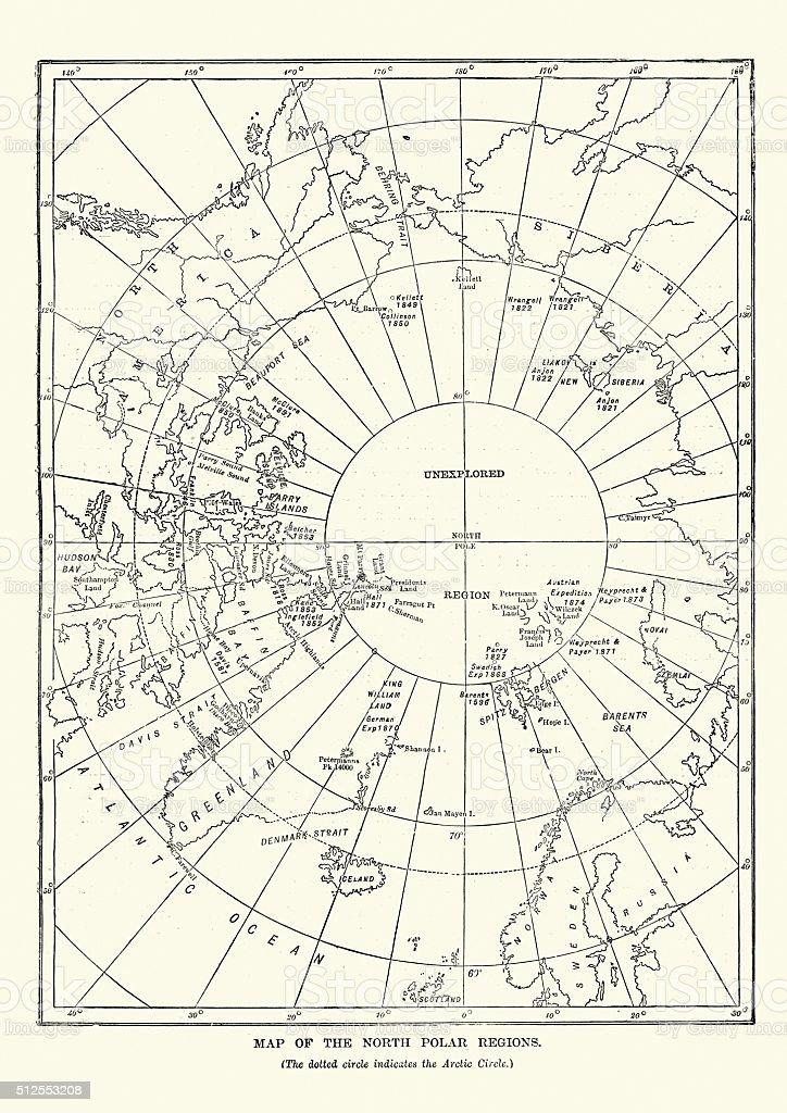Victorian map of the North Polar Regions vector art illustration