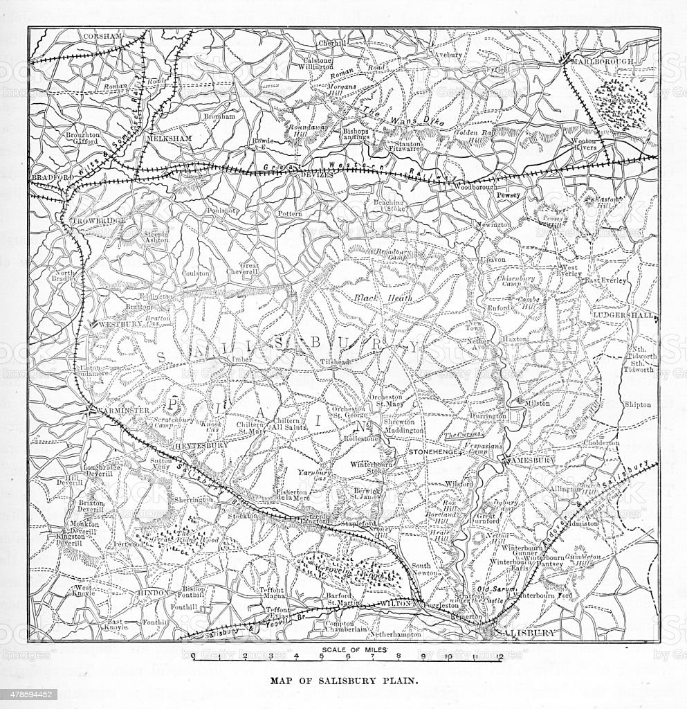Victorian Map of The Salisbury Plain of England Engraving vector art illustration