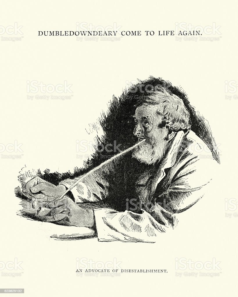 Victorian mature man smoking a long clay pipe vector art illustration