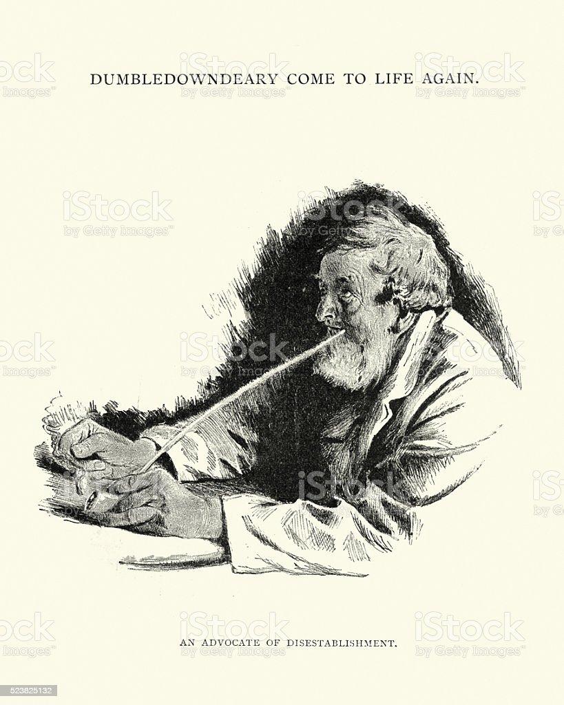 Victorian mature man smoking a long clay pipe vector art illustration