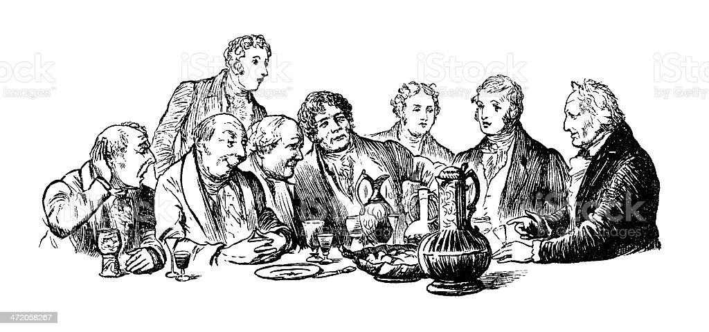 Victorian men drinking at a table vector art illustration