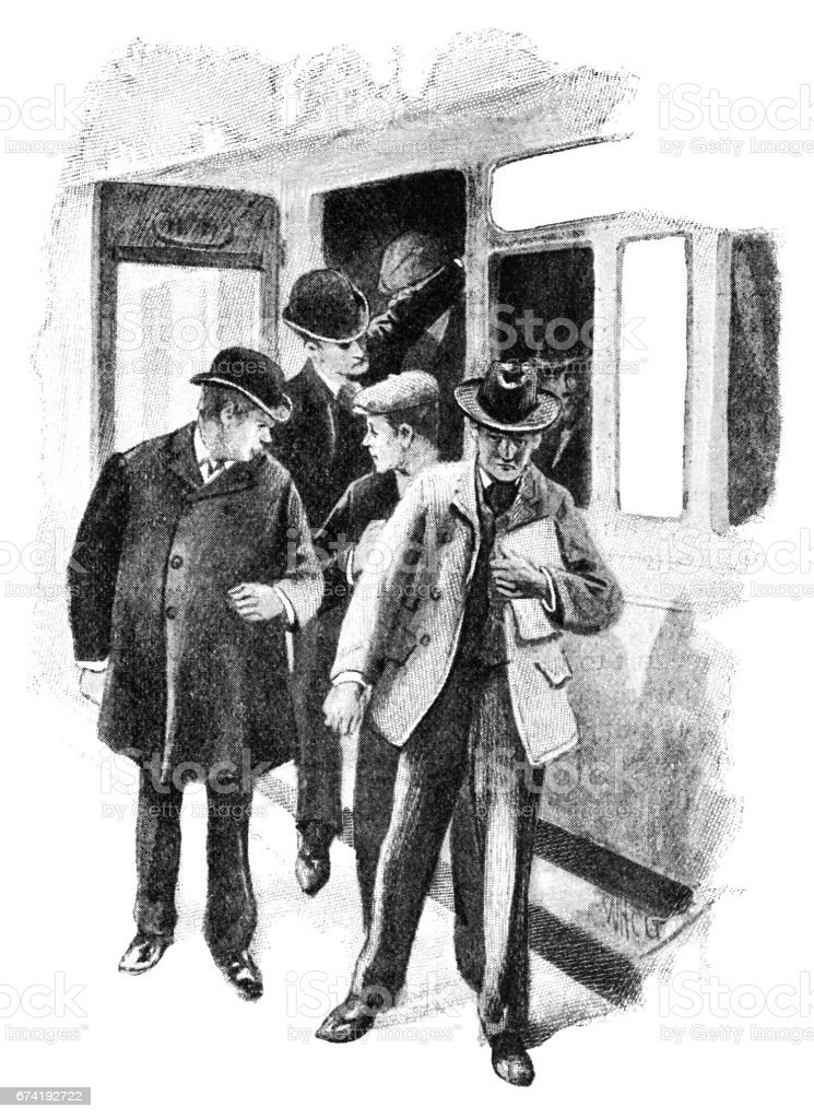 Victorian men getting out of a train carriage vector art illustration