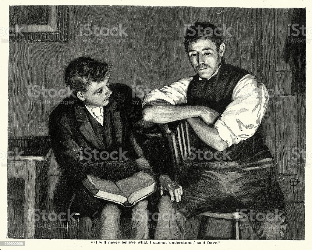 Victorian men reading a book together vector art illustration