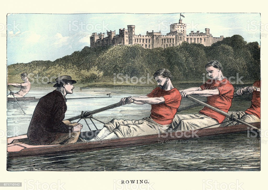 Victorian men rowing on the Thames, 19th Century vector art illustration