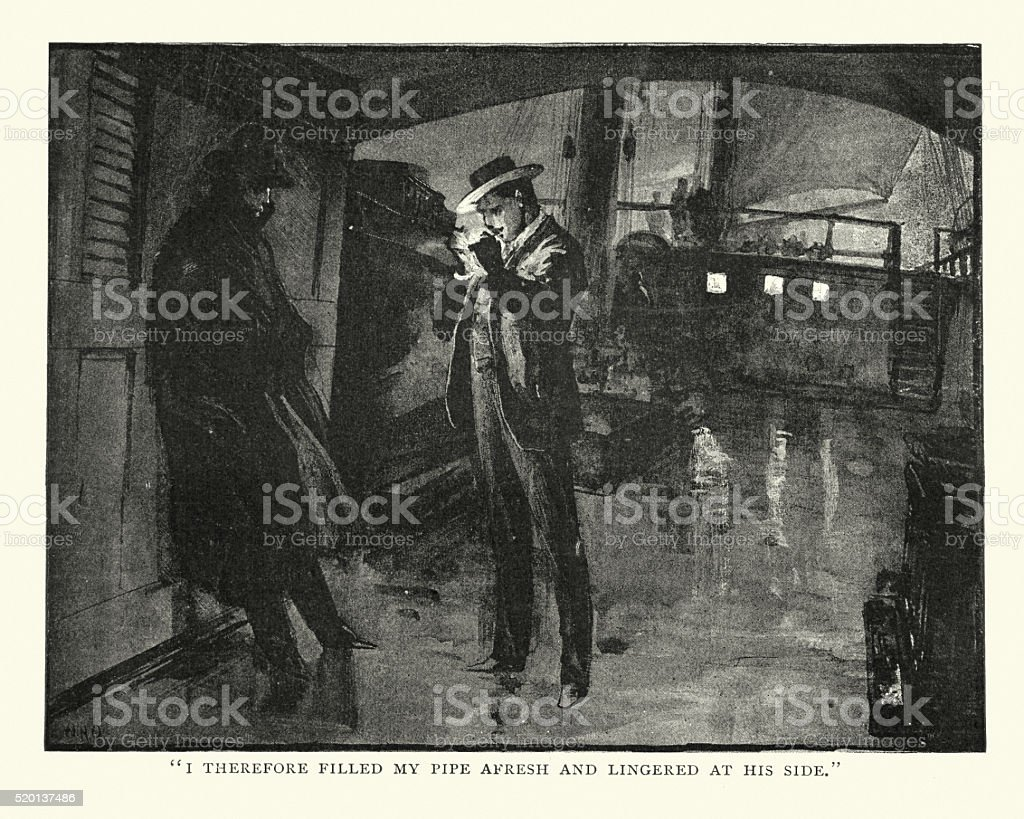 Victorian men smoking a pipe on the deck vector art illustration