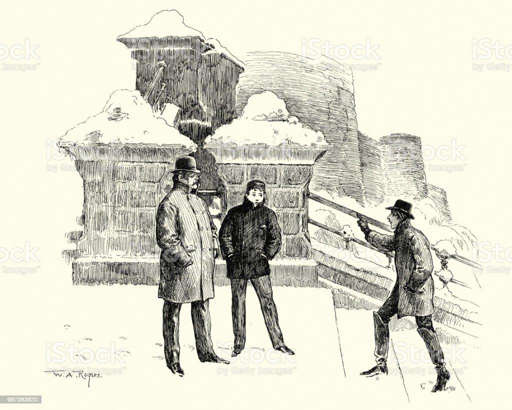 Victorian men standing talking in the snow vector art illustration
