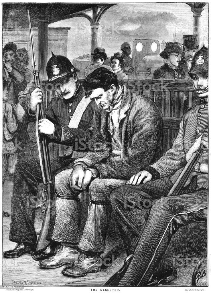 Victorian military policemen escorting a deserter vector art illustration