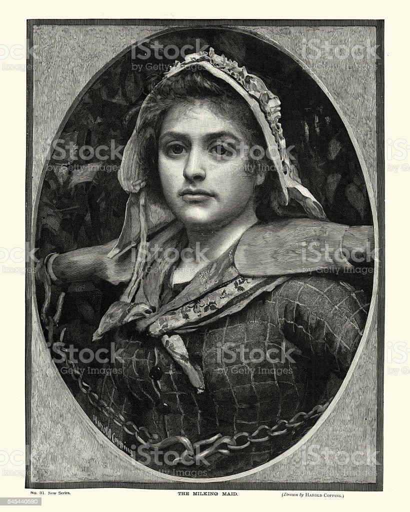 Victorian Milking Maid vector art illustration