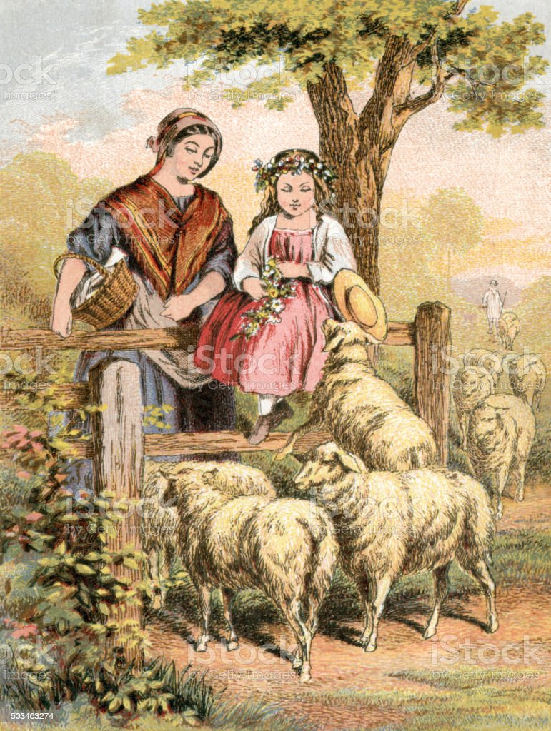 Victorian mother and daughter looking at sheep vector art illustration