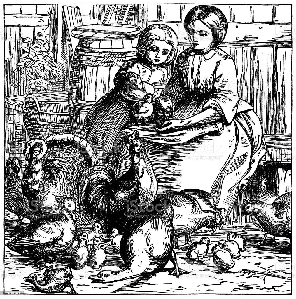 Victorian mother and daughter with poultry vector art illustration