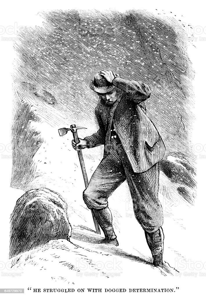 Victorian mountaineer struggling through the snow vector art illustration