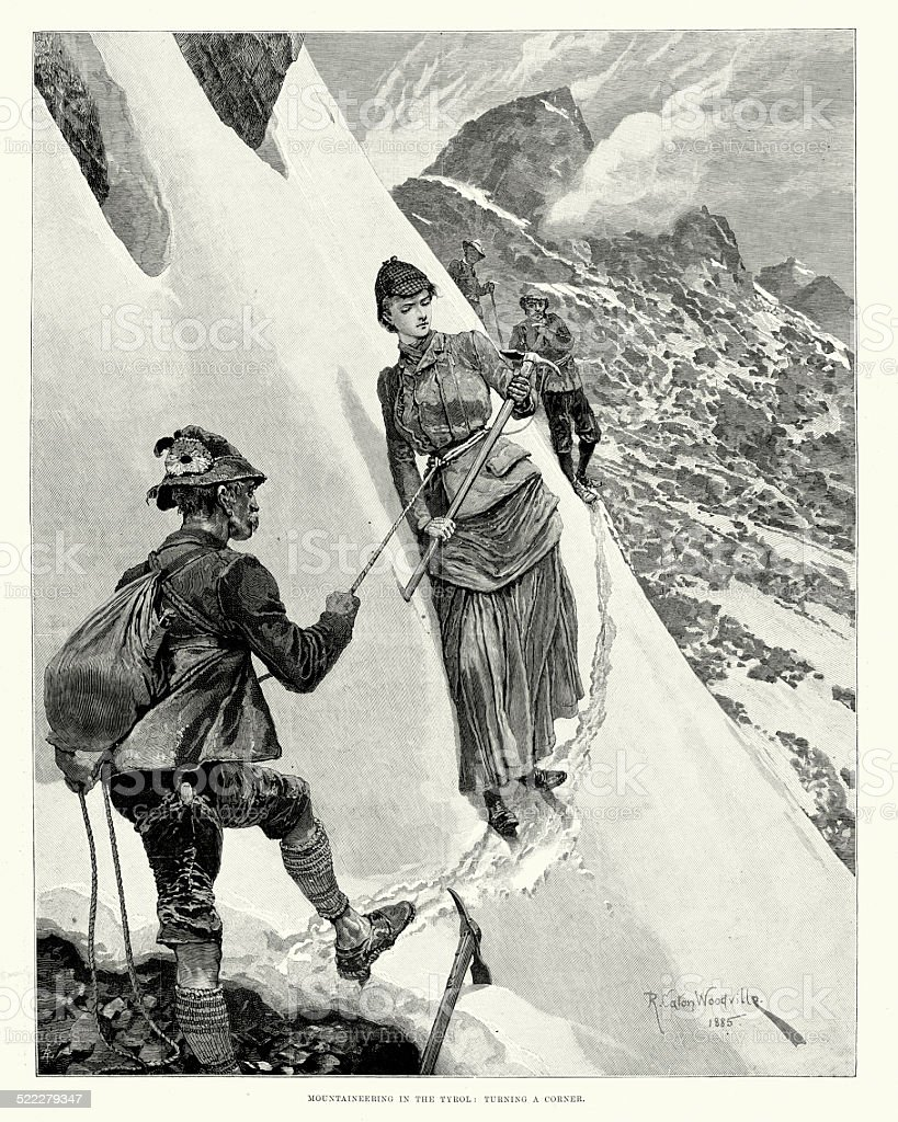 Victorian Mountaineering in the Tyrol vector art illustration