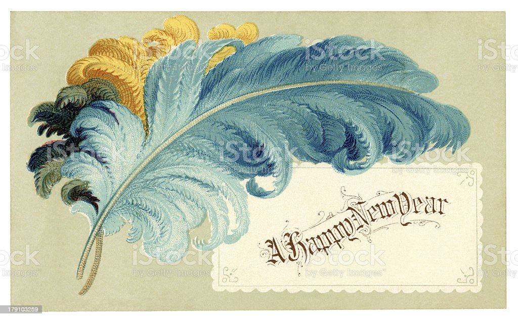 Victorian New Year card with feathers, 1878 royalty-free stock vector art