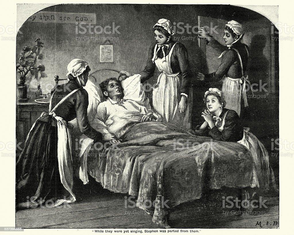 Victorian nurses caring for a dying man vector art illustration