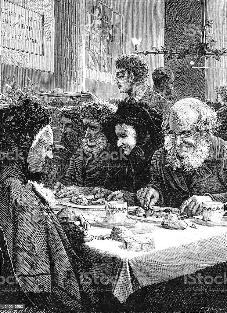 Victorian 'old folks' Christmas Dinner vector art illustration