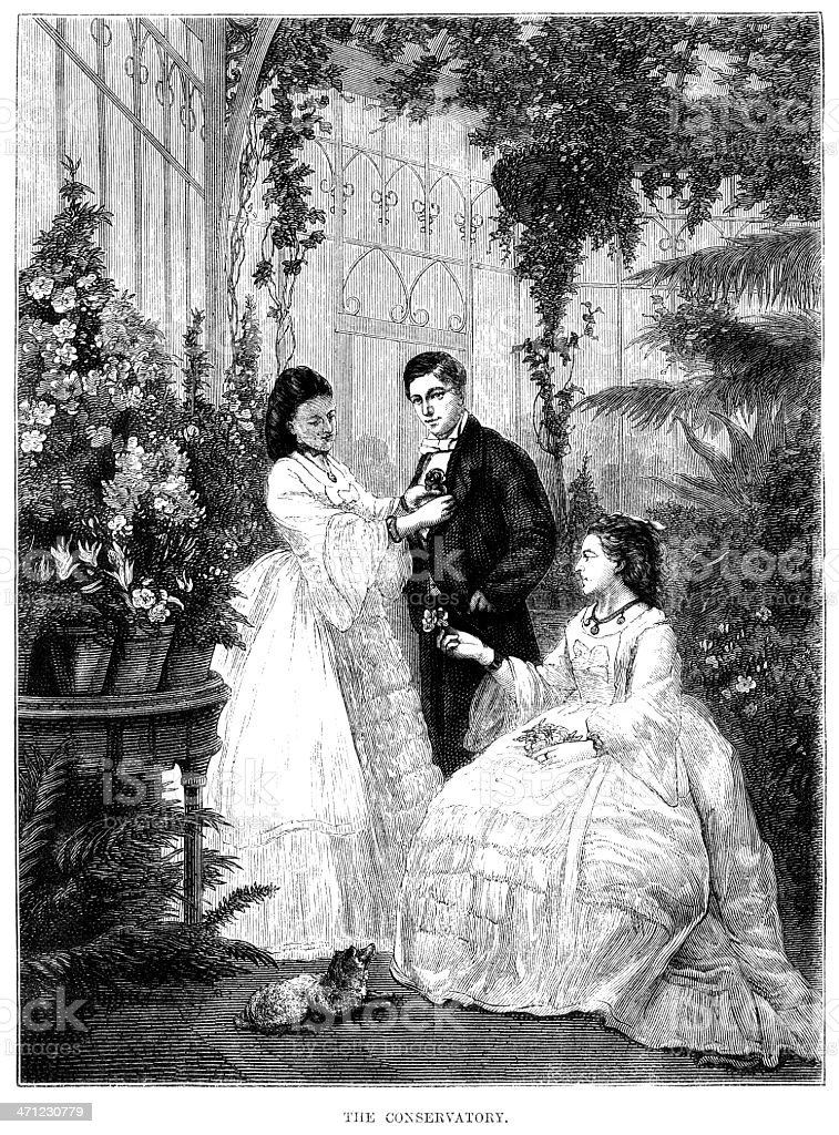 Victorian people in a conservatory (1875 illustration) vector art illustration