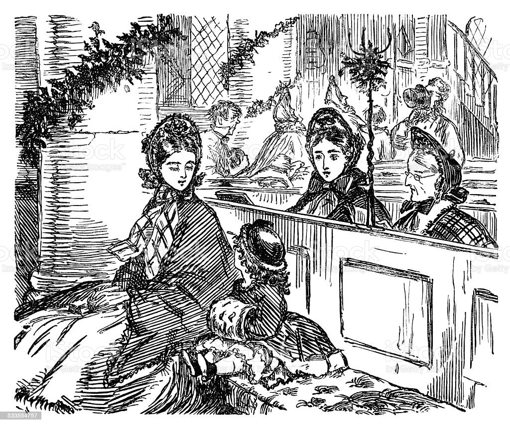 Victorian people in church at Christmas vector art illustration