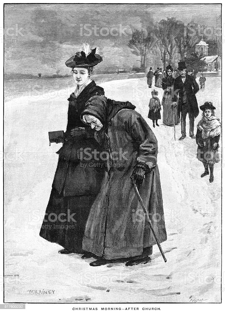 Victorian people leaving church on a snowy Christmas morning vector art illustration