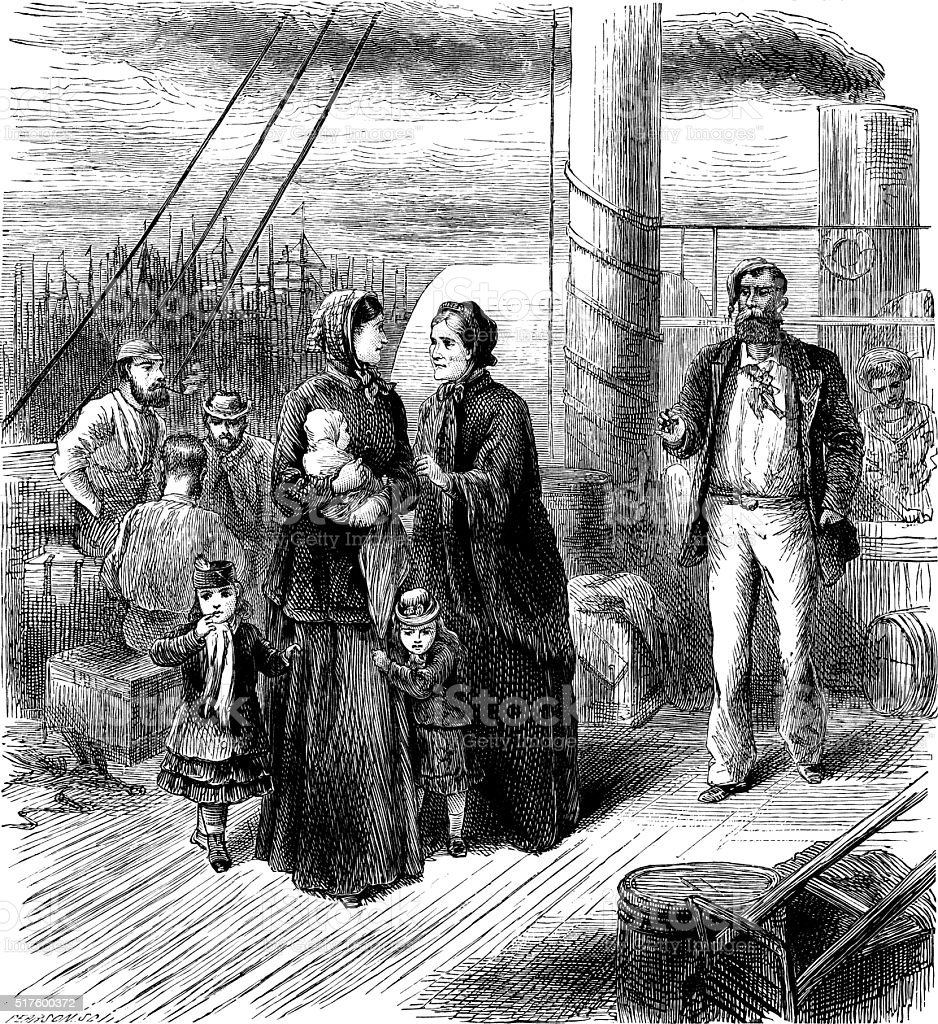 Victorian people travelling by paddle steamer vector art illustration
