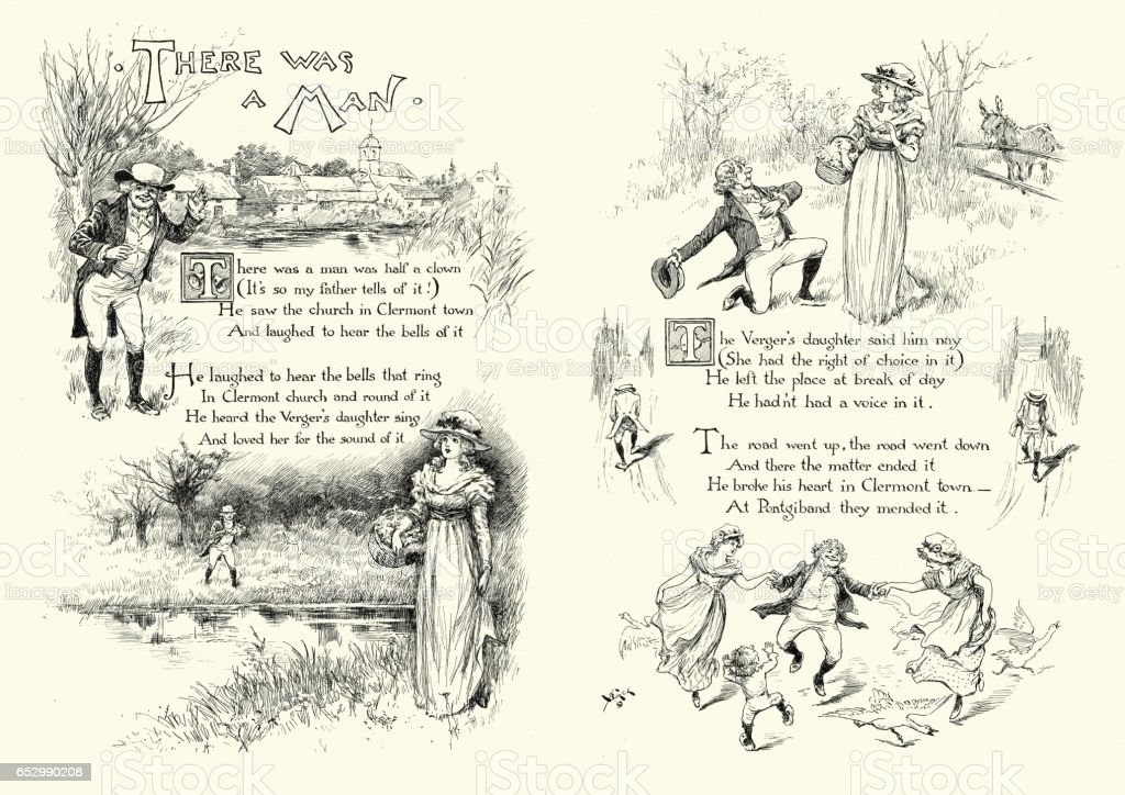 Victorian poem, a woman rejecting a mans proposal of marriage vector art illustration