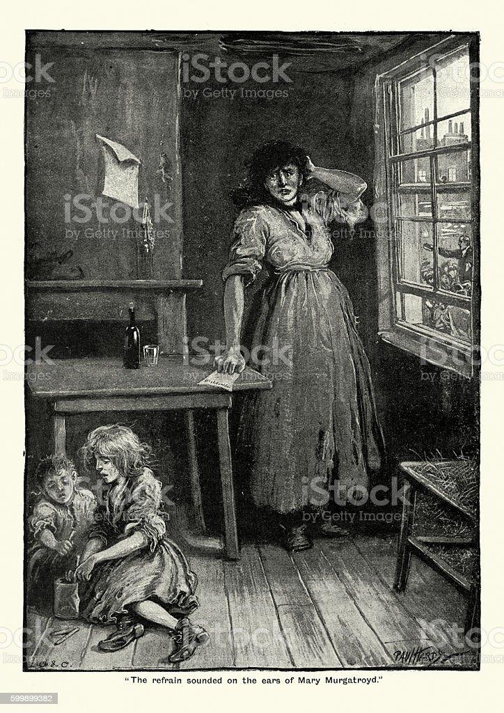 Victorian poor working class woman vector art illustration