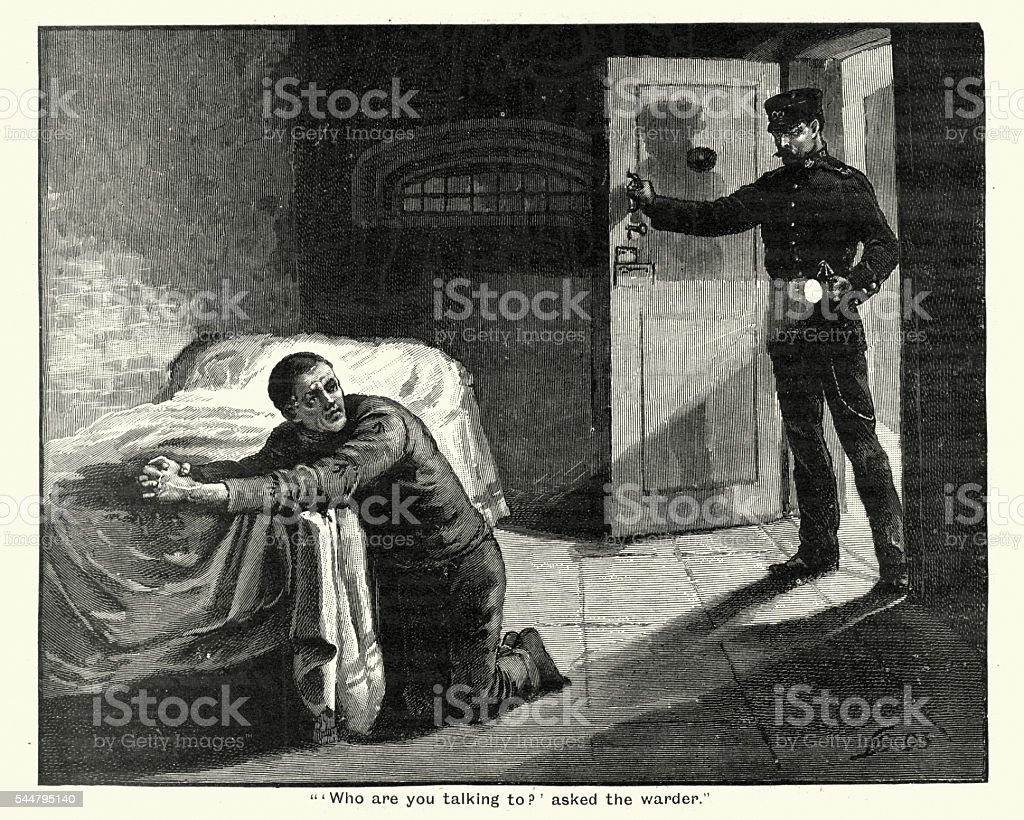 Victorian prison convict praying in his cell vector art illustration