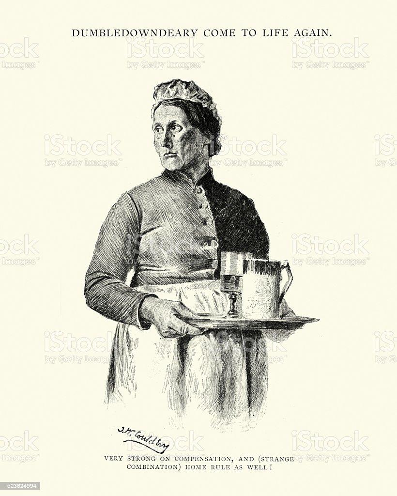 Victorian pub landlady with a tray of drinks vector art illustration