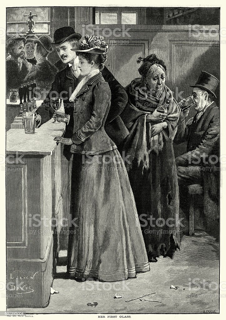 Victorian pub Young man and woman drinking at the bar vector art illustration