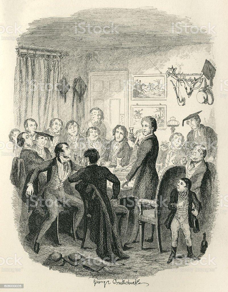 Victorian public school teachers' convivial evening vector art illustration