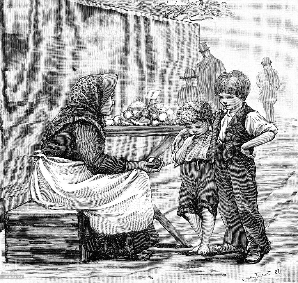 Victorian Ragamuffins and Street Vendor vector art illustration