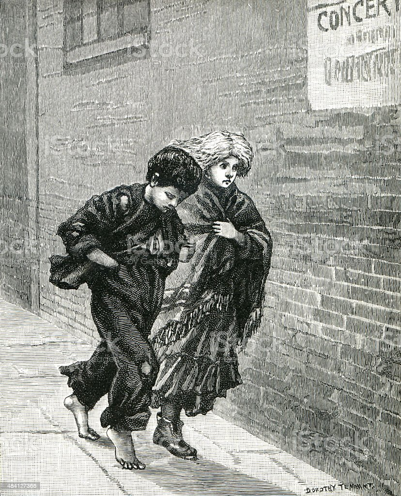 Victorian Ragamuffins Fleeing Danger vector art illustration