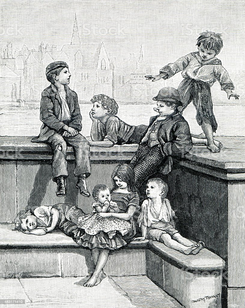 Victorian Ragamuffins vector art illustration