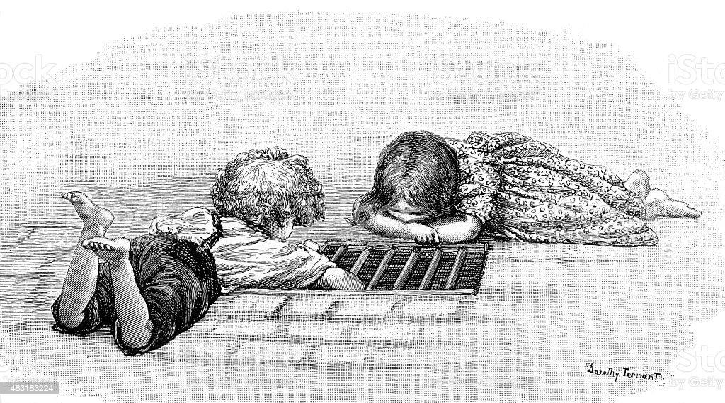Victorian Ragamuffins Investigate Storm Drain vector art illustration