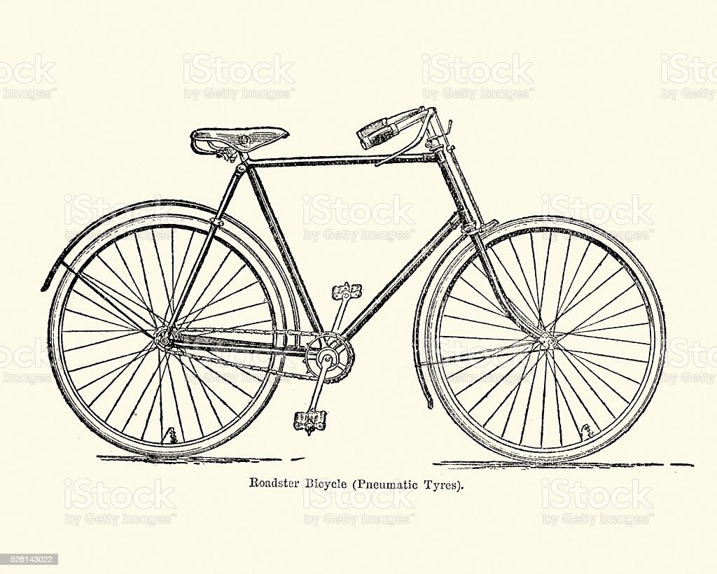 Victorian Roadster Bicycle vector art illustration