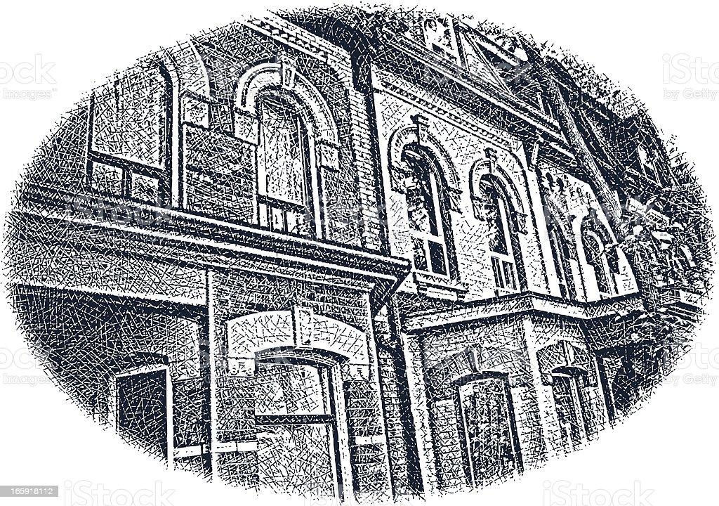 Victorian Row Houses vector art illustration
