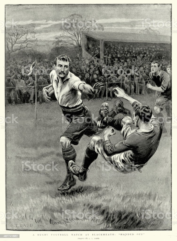 Victorian Rugby Football Match at Blackheath, 1897 vector art illustration